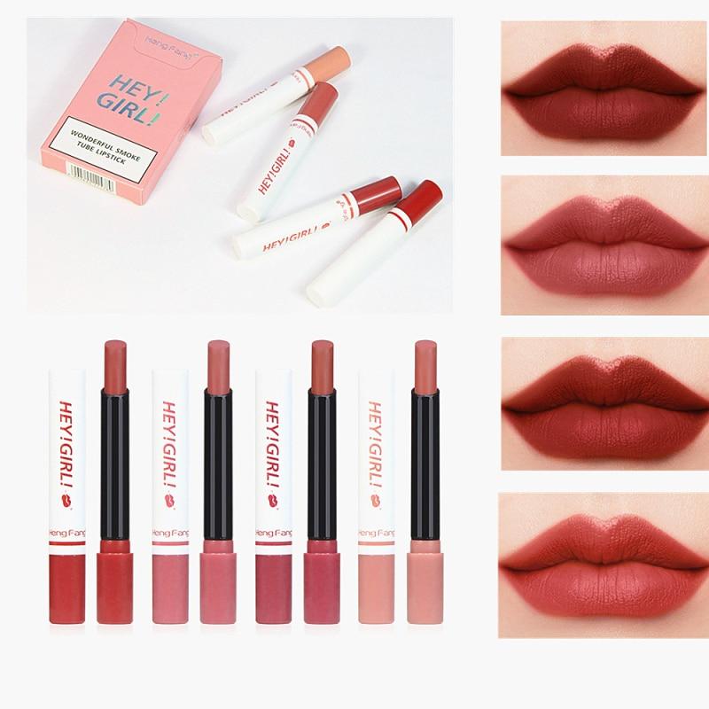 4 Pcs Cigarette lipstick Set Loading Velvet Matte Long Lasting Without Fading Lipstick Fog Surface Sexy Lipstick 4 Colors TSLM2