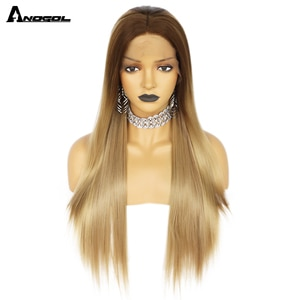 Anogol Straight Blonde Lace Front Synthetic Wigs with Baby Hair Long Women's Lace Wigs High Density Natural Wig Heat Resistant