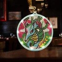 Lampe de decoration de maison bricolage   Peinture au diamant  lumiere pratique Dragon point de croix  lampe de decor en forme speciale  fournitures essentielles