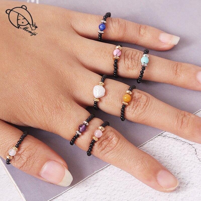 Momiji Handgemachte Natürliche Stein Perlen Ringe Hochzeit Boho Multi Farbe Elastische Einstellbare Kristall Perlen Erklärung Ring Frauen Geschenk