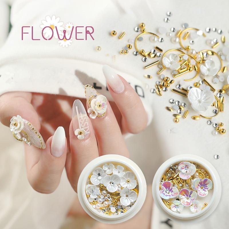 1 doos Goud Witte Bloem Nail Studs Nail Onderdelen Decoratie Nail Art Nail Salon