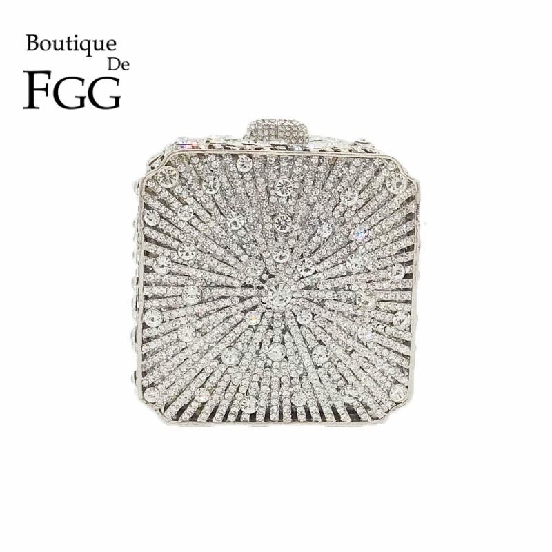 Boutique De FGG-حقيبة سهرة من الكريستال اللامع للنساء ، حقيبة يد ، حقيبة زفاف ، حقيبة حفلات صغيرة