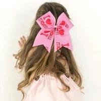 kawaii kids hair band lovely heart print bowkont hair rubber band hair accessories for girls kids barrettes baby gumki do wlosow