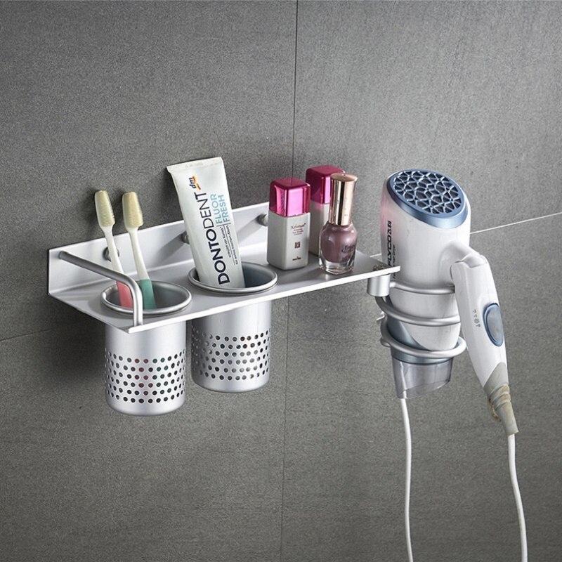 Cepillos secador de pelo, estante de almacenamiento de acero inoxidable, estante antióxido para secador de pelo, soporte organizador de baño, soporte de accesorios