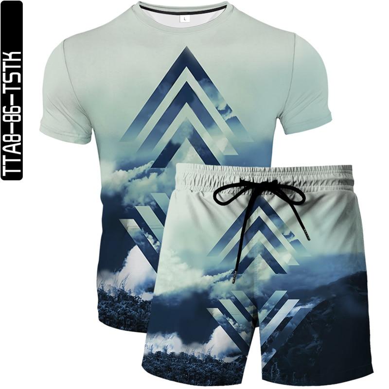 Fashion summer men's shorts geometric pattern 3D surf short beach shorts men's casual quick-drying sports pants swimsuit suit