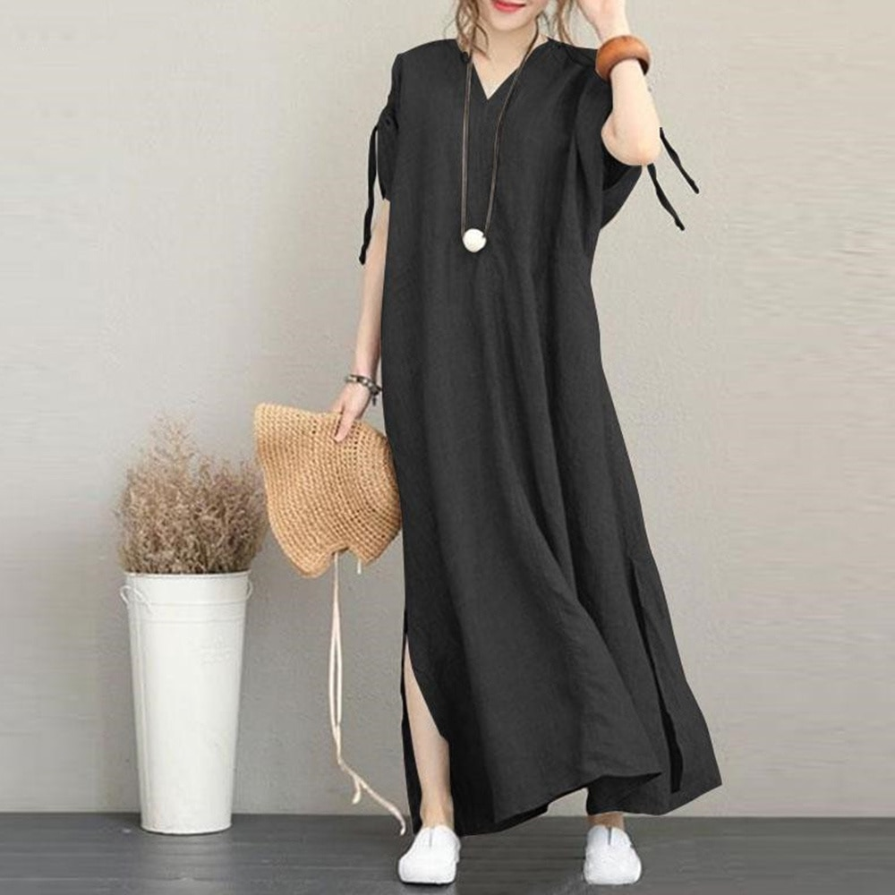 Japanese Style Korean Fashion New Solid Color Cotton Linen V-neck Short Sleeve Long Backless Loose C