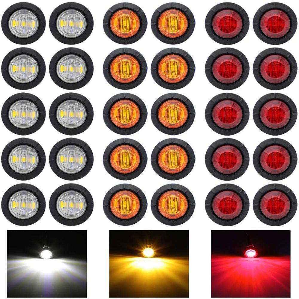 Fuleem 30PCS Mini 12V 10 PCS Bernstein + 10 PCS Rot + 10 PCS Weiß LED Abfertigung Marker kugel Marker lichter Wasserdicht