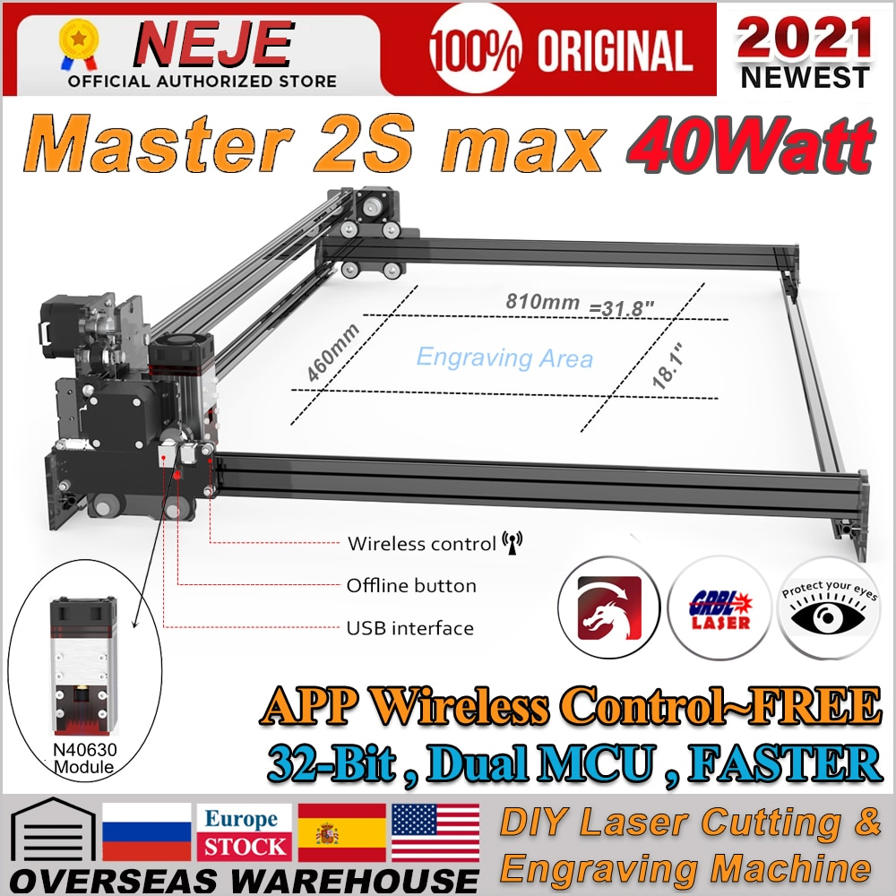 2021 Upgrade NEJE Max 40W CNC Laser Engraver Cutter Large Area 410x810 mm Engraving Machine Cutting for Wood/MDF/Balsa/Leather