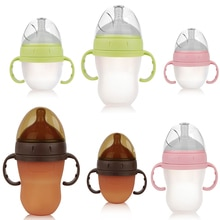 Baby Silicone Bottle Wide Caliber with Handle Straw Milk Bottles Toddler Newborn Infant Baby Drink Training Feeding Bottle