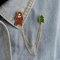 children women jewelry adorable bear tree layered chain badge brooch lapel pins denim jeans shirt bag cartoon trendy