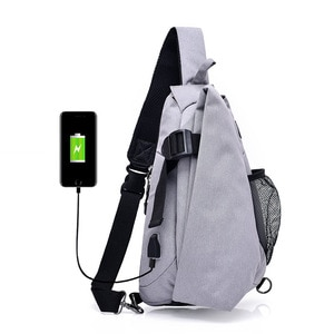 USB Interface Charging Large-Volume New Style Canvas Dacron Men Chest Pack Waterproof Sports Backpack