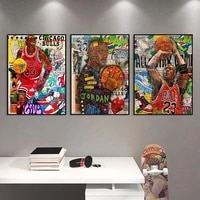 graffiti famous basketball star wall art abstract canvas painting street art posters and prints for living room cuadros decor