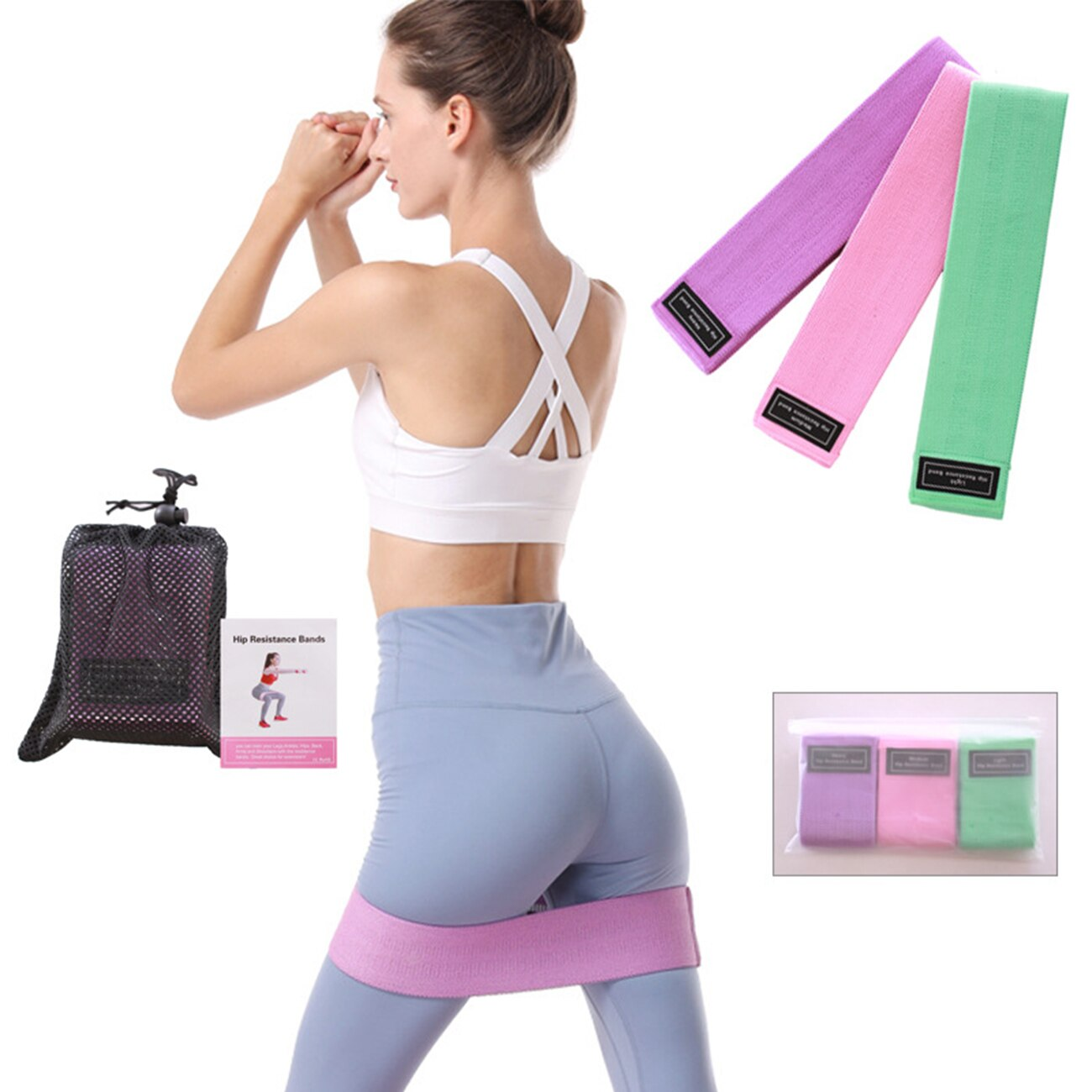 yoga elastic band resistance bands fitness for home gym equipment elasticas workout exercise rubber training band set Resistance Bands Set Workout Rubber Elastic Sport Booty Band Fitness Equipment For Yoga Gym Training Fabric Bandas Elasticas