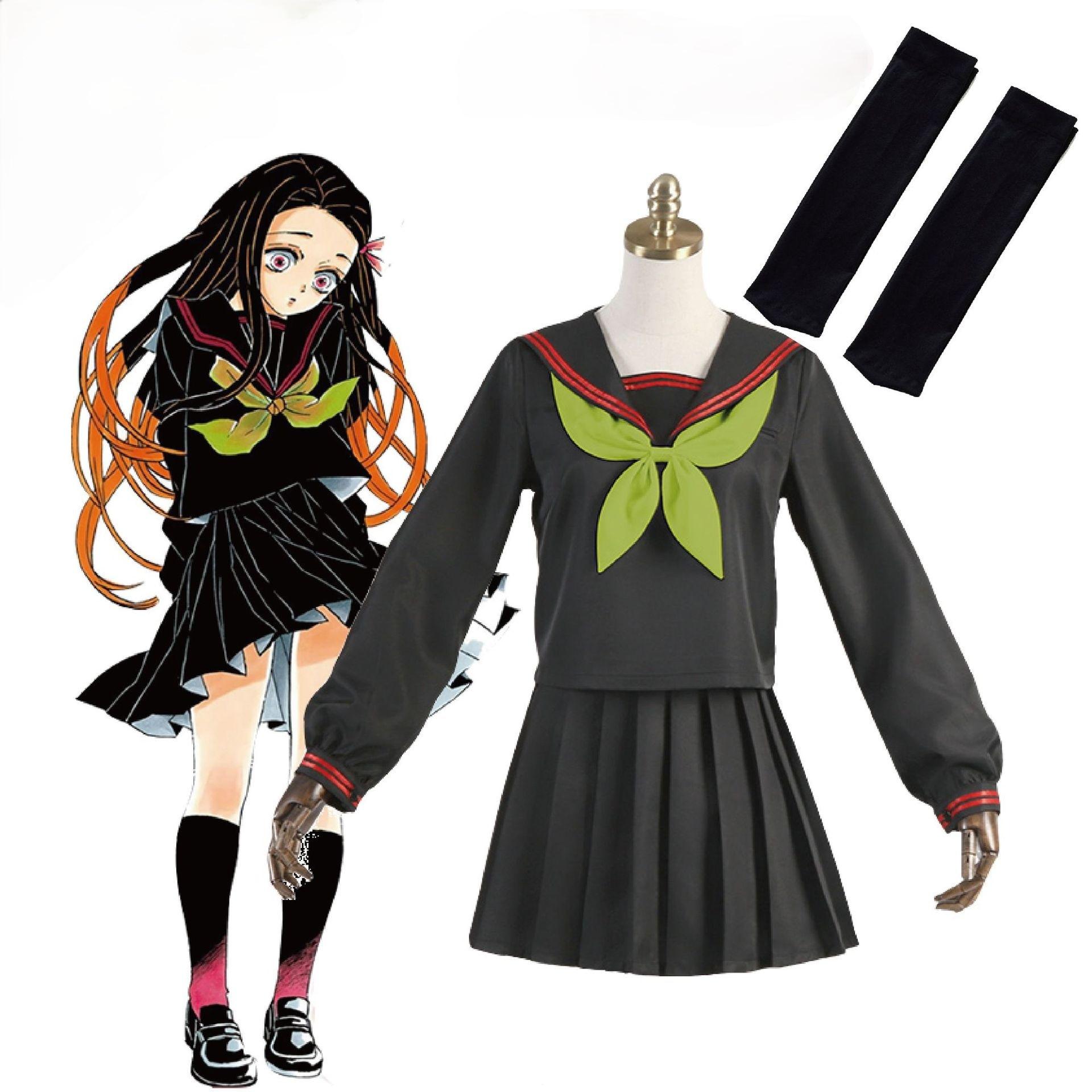 Cosplay Demon Slayer Kimetsu No Yaiba Costume Nezuko Kamado Makomo Uniforms Cartoons Sailor Dress Suit Contains Socks for Female  - buy with discount