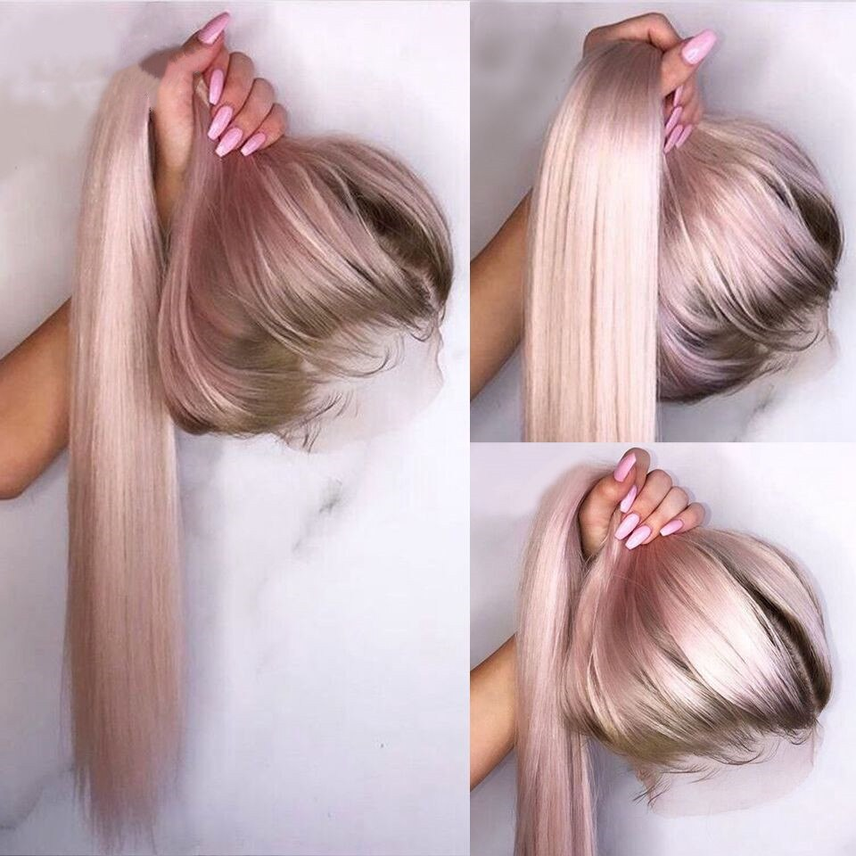 Ombre Pink Straight Human Hair Wig With Brown Roots Wig With Baby Hair Brazilian Remy Lace Wigs 180 Density