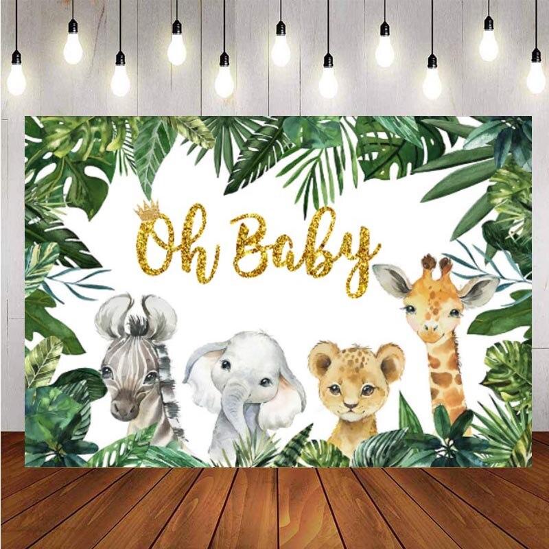 Пользовательские джунгли Животные Сафари фотография Фон Oh Baby С Днем Рождения Вечеринка Дети фото фон Декор баннер