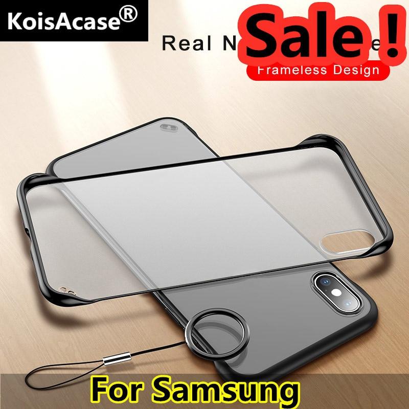 Koisacase frameless claro fosco caso de telefone duro para samsung s6 s7 s8 s9 s10 plus e nota 8 9 10 a50 a60 a70 a80 com anel de dedo