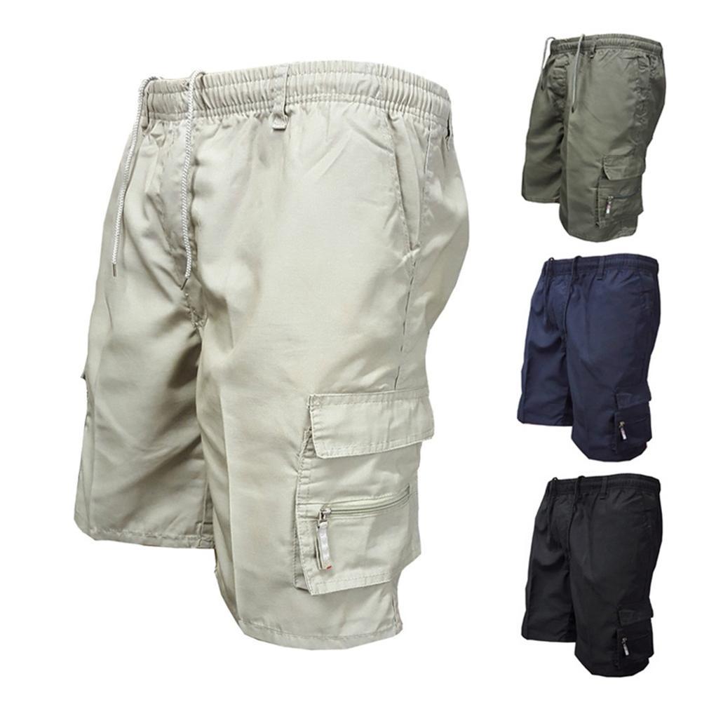Шорты-карго мужские однотонные на завязках, повседневные мешковатые штаны-карго с множеством карманов, брюки-карго с кулиской, на лето