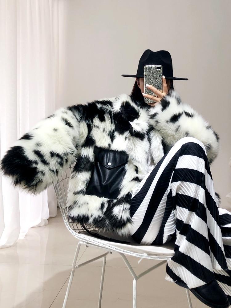Women Winter Warm Fashion Black White Cow Short Fox Fur Leather Coat Female Loose Pocket Belt Faux Fur Ladies Thick Outerwear