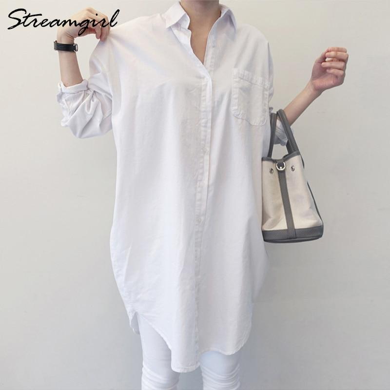 Туника Streamgirl Женская в стиле оверсайз, белая рубашка с длинным рукавом в стиле бойфренда, офисная блузка в Корейском стиле, белая   Женская одежда   АлиЭкспресс