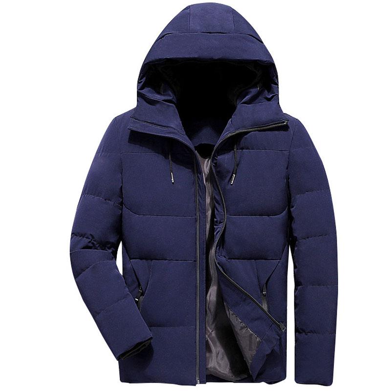 Chaqueta de invierno informal para Hombre con capucha negro sólido Parka Abrigo...