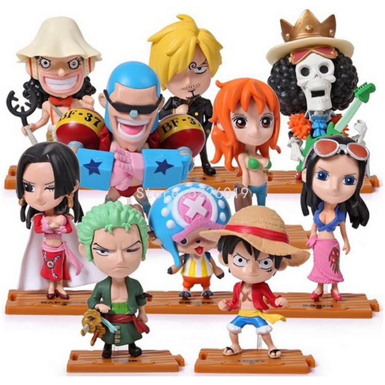 10 teile/los Anime One Piece Action Figure Set Luffy Abbildung Chopper Hancock Sanji Zoro Figur Robin Nami Lysop Modell Puppen spielzeug
