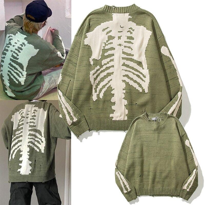 Women's Sweater Streetwear Fashion Loose Skulls Sweater Vest Long-sleeved Unisex High Street Hip Hop Green Pullover
