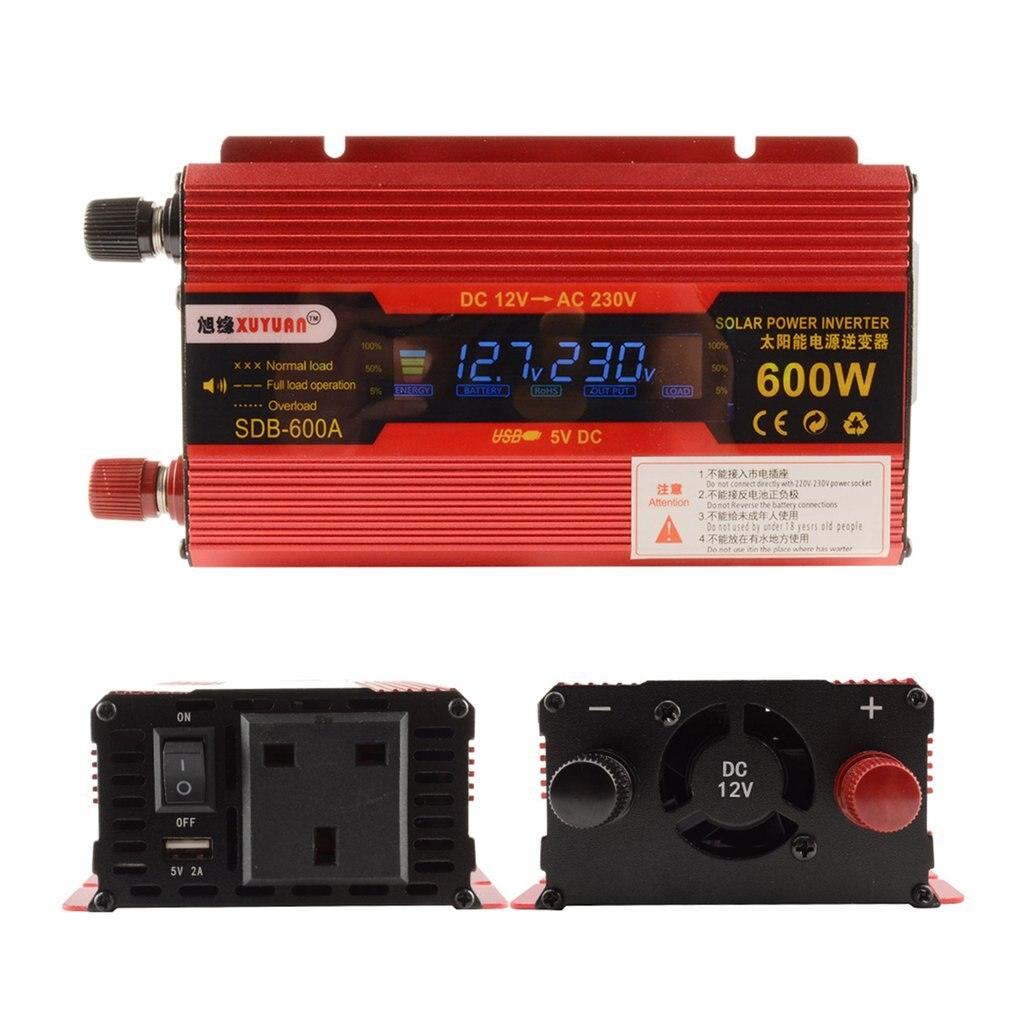 XUYUAN 600W inversor de corriente de coche DC 12V a AC 220V convertidor LCD pantalla USB cargador adaptador portátil modificado para ahorro en ventas en el Reino Unido