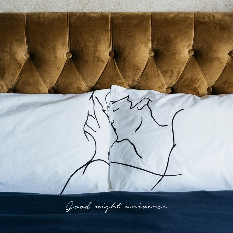 230TC cotton embroidered Romantic kiss lovers pillows 48*74cm 2 pcs, wedding gift bed pillow cover for couples