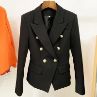 new fashion 2021 designer blazer jacket womens classic double breasted metal lion buttons blazer outer size s 4xl