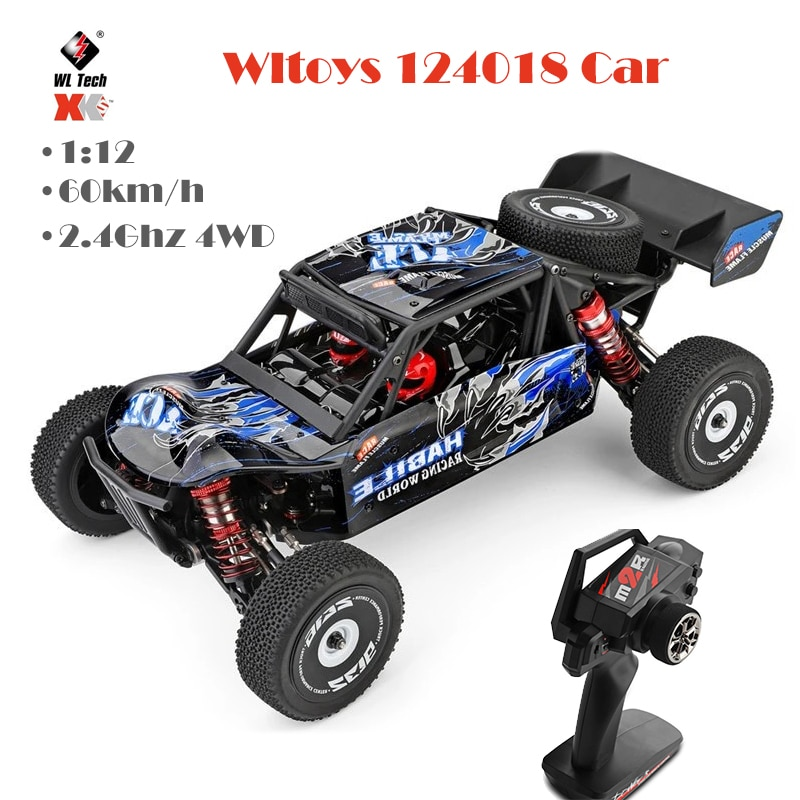 Rc carro 124018 1/12 2.4g corrida carro de controle remoto concorrência 60km/h metal chassis 4wd wltoys 114 fórmula rc carro brinquedos