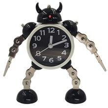 QMJHVX الإبداعية تشوه الاطفال ساعة تنبيه المعادن روبوت ساعة الاستيقاظ النوم ساعات مكتب ديكور المنزل كاشفة ماتين