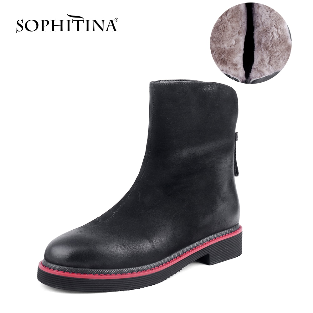 سوفيتينا النساء أحذية الشتاء الدافئة موضة مريحة عالية الجودة السيدات منتصف العجل الأحذية منخفضة الكعب سستة حذاء أسود النساء C822