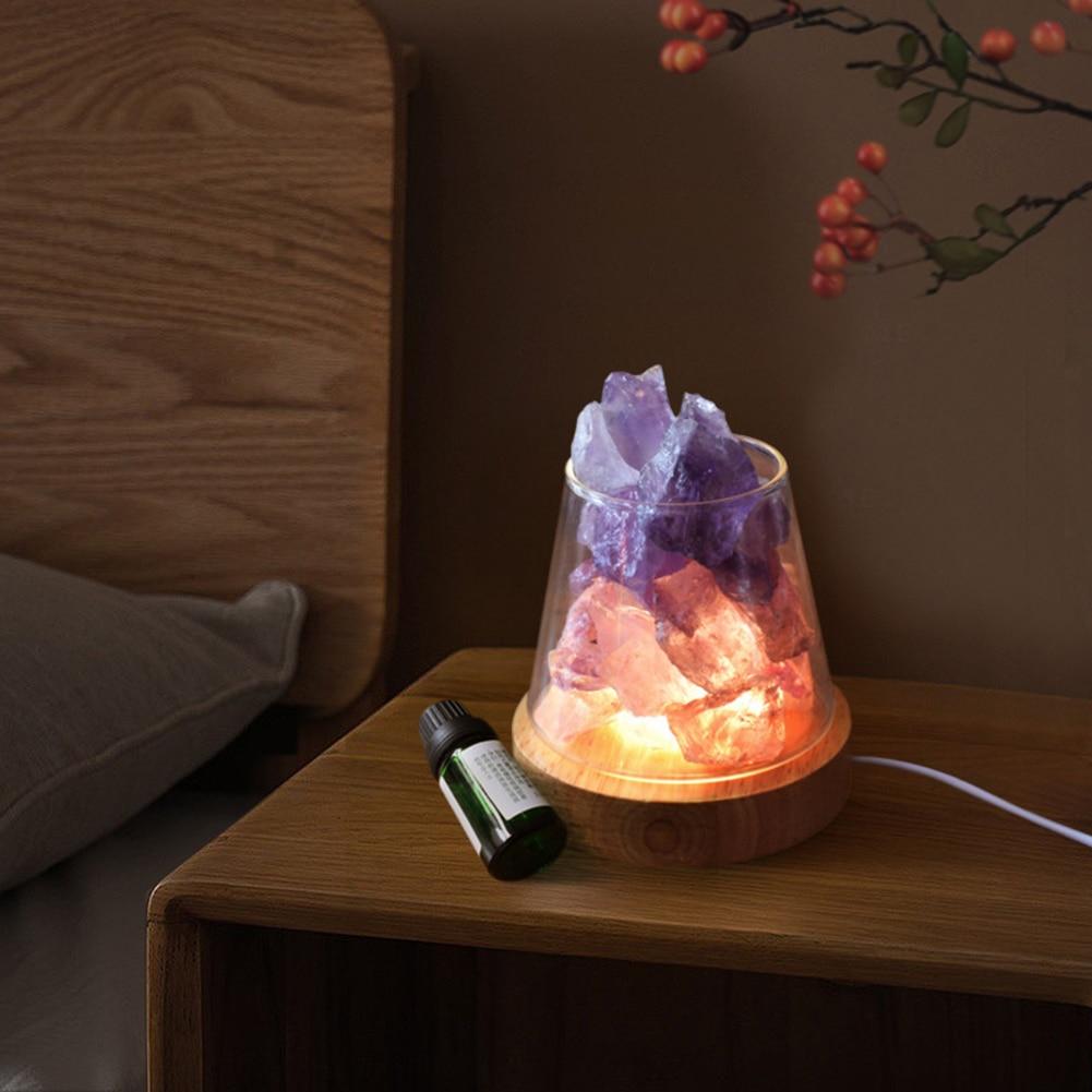 مصابيح طاولة كريستال ليلة الخفيفة مع رائحة أضواء ملونة الطبيعية الخام حجارة بلورية زيت طبيعي الناشر ضوء ديكور المنزل