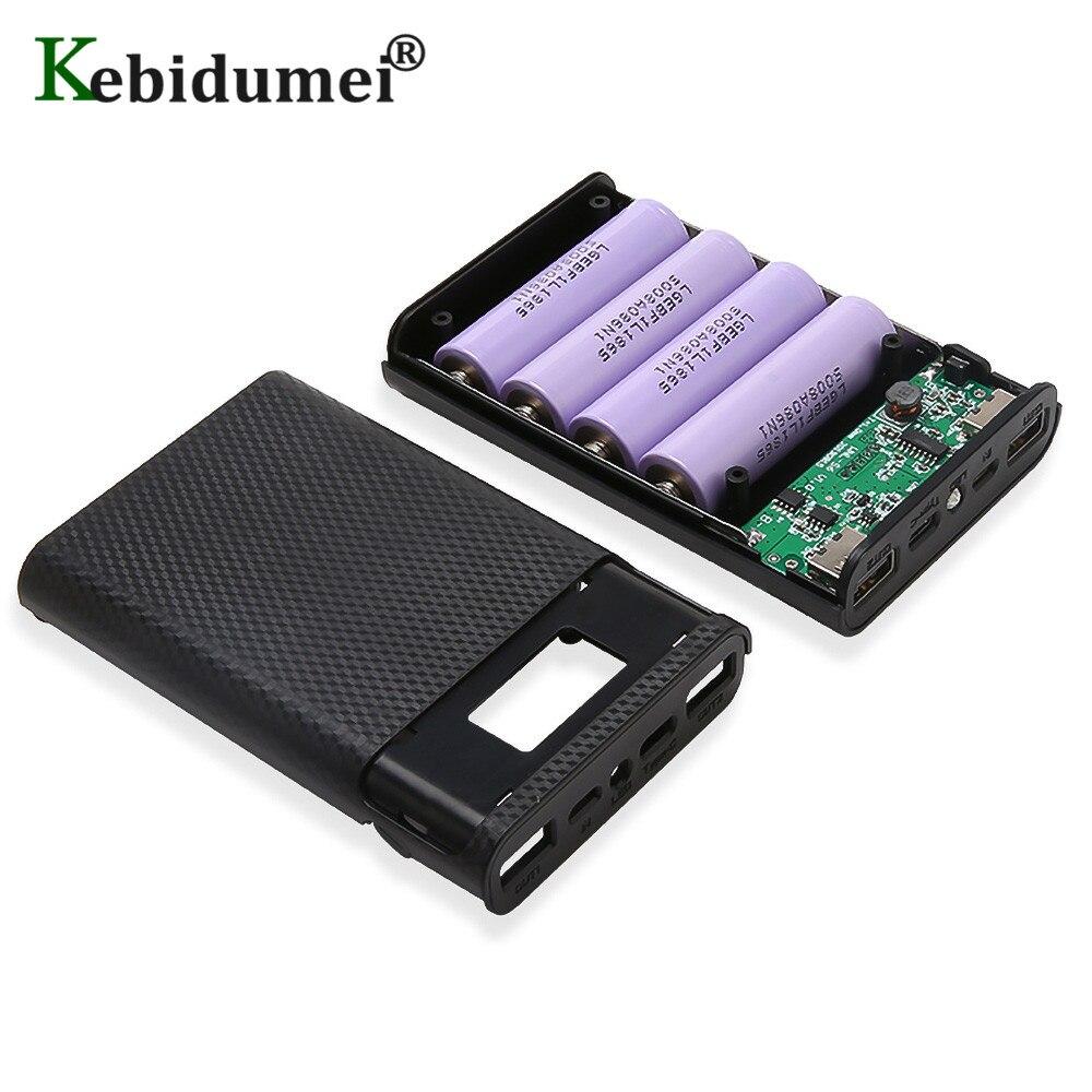 Kebidumei DIY чехол для зарядного устройства 4x18650 Коробка для хранения заряда батареи 5 в двойной usb type C Android Micro USB интерфейс для смартфонов