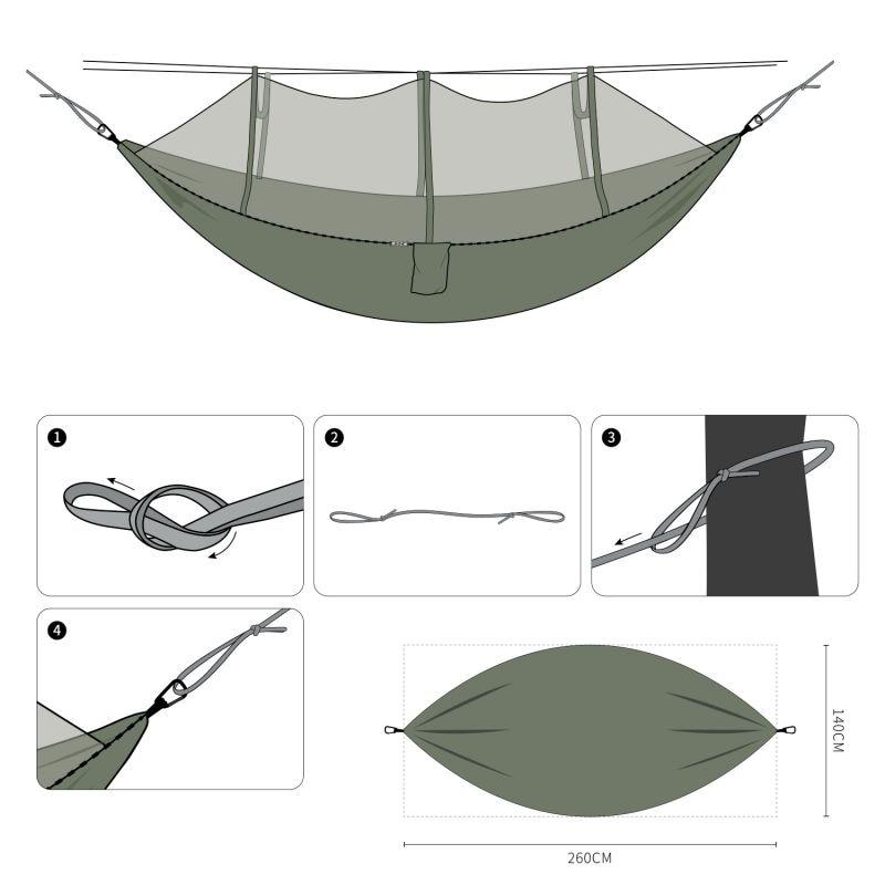 Hamaca de red para mosquitos al aire libre doble 210T Nylon Anti-Mosquito paracaídas tela aérea tienda de campaña