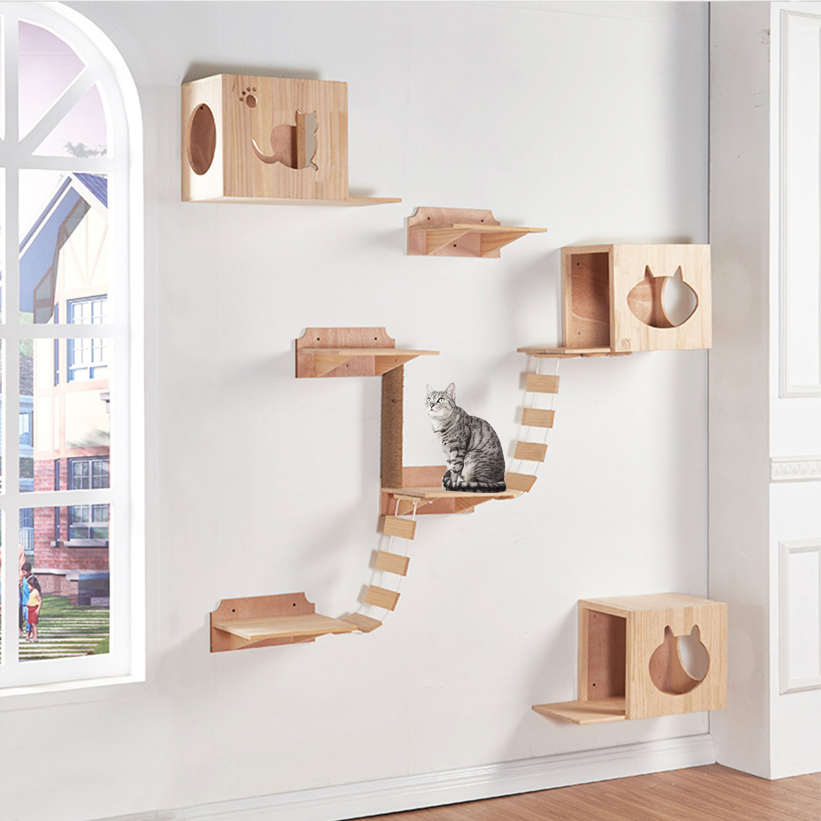 Cat Bridge Climbing Frame Wood Pet Cat Tree House Bed Hammock Sisal Scratching Post Cat Furniture Cat Toy Wall Mounted