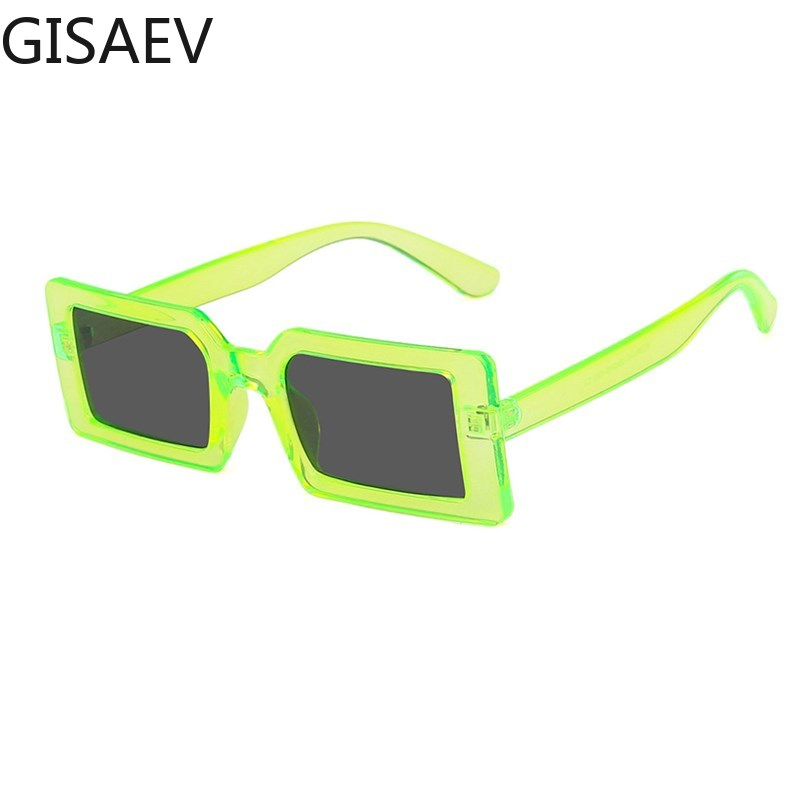 Fluorescent Green Square Sunglasses Women Fashion Rectangle Fluorescent Frame Driving Glasses Women