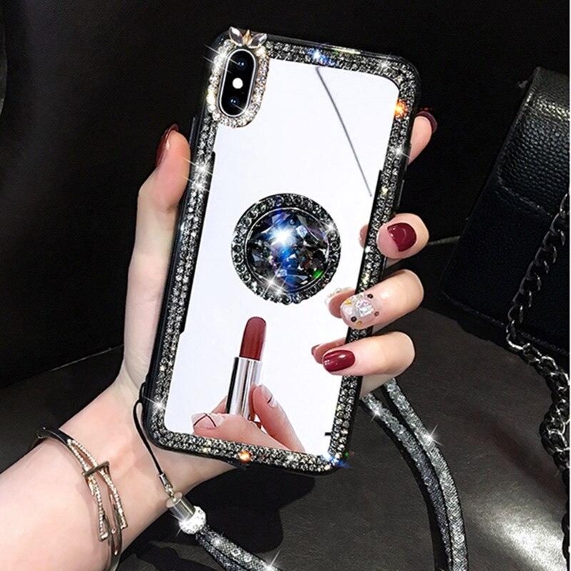 Mirror Rhinestone Makeup Women Case For Xiaomi Mi 11 10 CC9 Pro Mi Note10 6X 5X F1 A1 A2 Redmi 7 6 Pro 4A Glitter Diamond Case