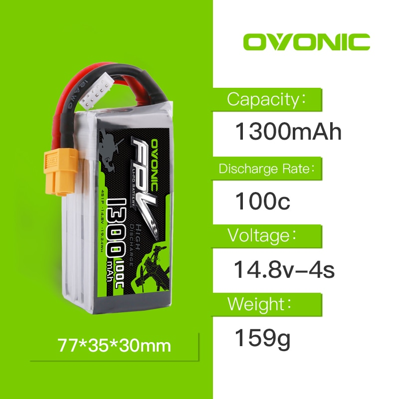 14.8V OVONIC 1300mAh 100C Max 200C Lipo 4S1P  Battery with XT60 Connector for 250 FPV Frame RC Drone Heli Quad Boat