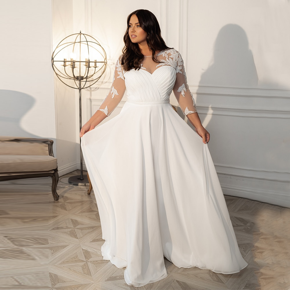 Get Civil Plus Size Chiffon Wedding Dresses For Woman Simple Floor Length Bridal Gown With 3/4 Sleeves Applique Pleat Gothic Robe