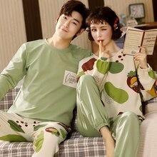 BZEL Couple Home Suits Cartoon Design Pajamas Set Womens Cotton Sleepwear Soft Loose Nightwear Large Size Pyjama Comfort Nighty