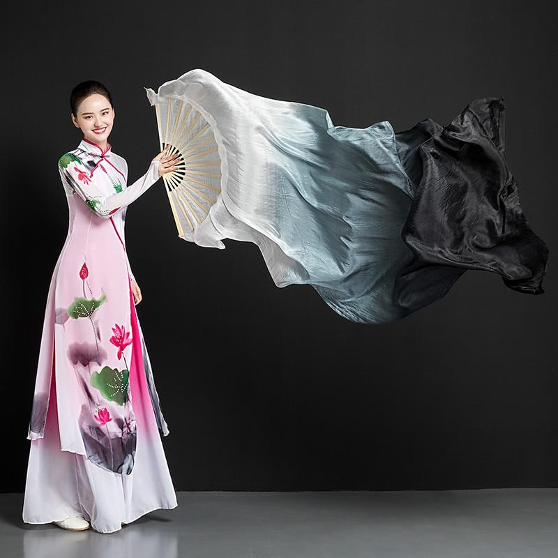 Abanico de seda Para baile con tinta clásica, Abanico plegable alargado de...