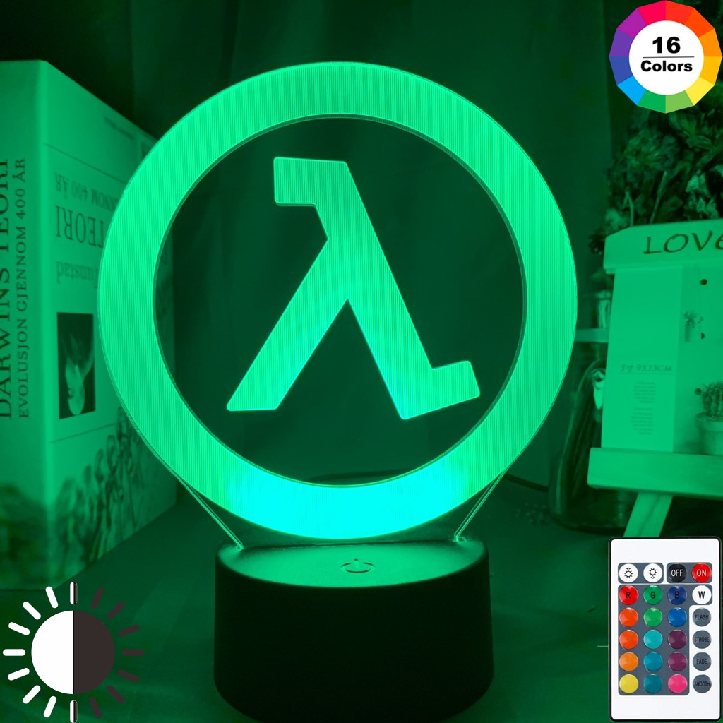 Половина Жизни Логотип ночника для игровая комната настенные декоративные Прохладный событие приз игровой магазин Цвет меняющийся светодиодный Ночной светильник подарок для Него Ночники      АлиЭкспресс