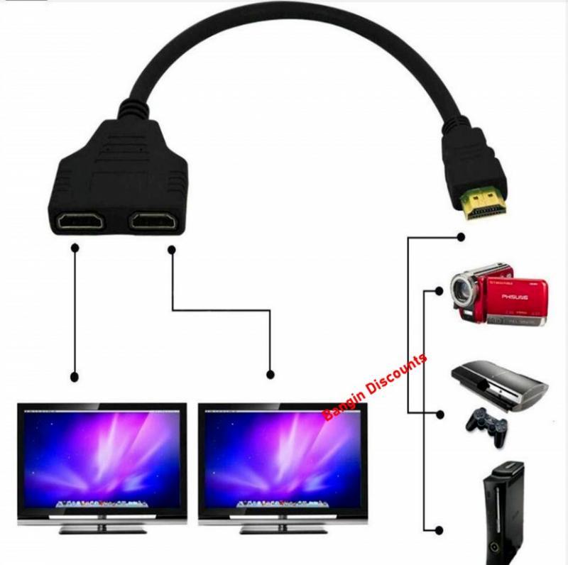 1080P HDMI совместимый разветвитель штекер гнездо Кабель адаптер преобразователь HDTV 1 вход 2 Выход 2 порта Переключатель Поддержка Прямая поставка Кабели HDMI      АлиЭкспресс