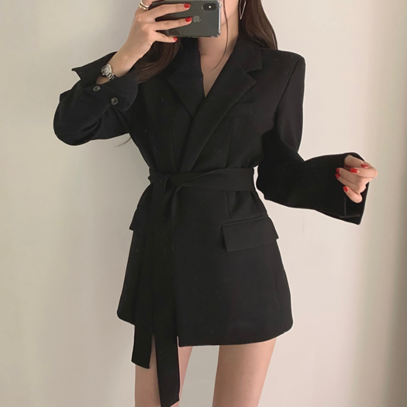 Women Blazers And Jackets Fashion Solid Notched Collar Elegant Ladies Office Blazer Suit Autumn Casual Long Belt Coat Jacket women solid blazer double breasted jacket women casual notched collar blazer office ladies work suit new fashion outerwear
