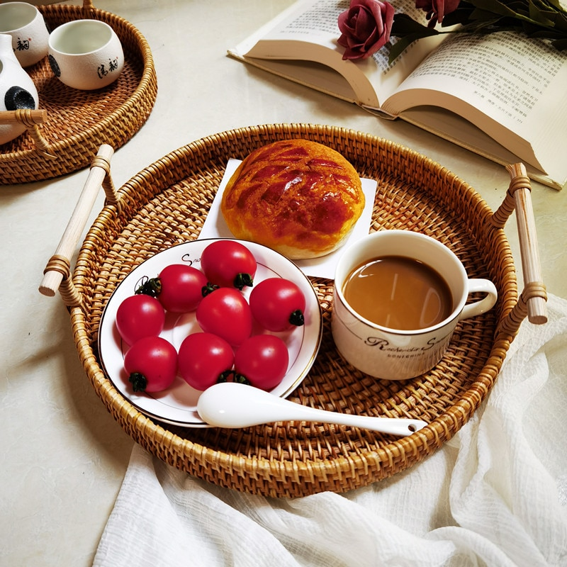 Woven Basket Rattan Storage Tray Round Basket With Handle Hand-Woven Rattan Tray Bread Fruit Food Breakfast Display