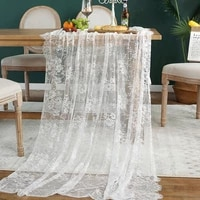 white floral lace table runner black table cover chair sash for banquet baptism wedding party table decoration simple tablecloth