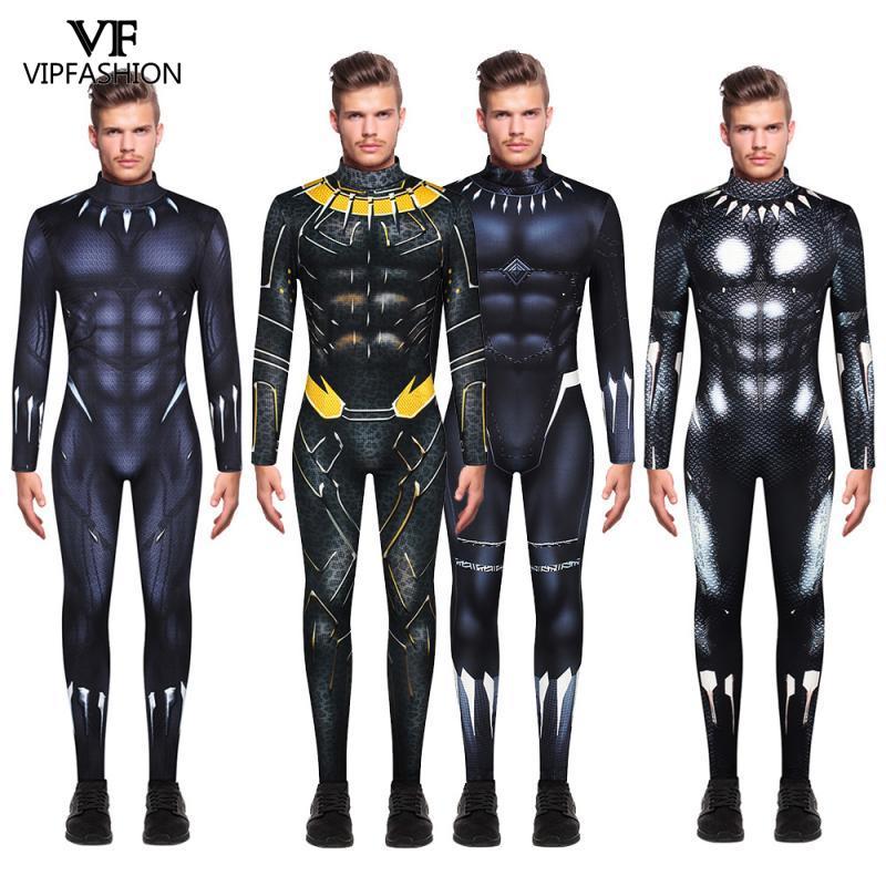 VIP Модный классический Карнавальный костюм для мужчин с принтом черной Пантеры, супергерой, карнавальный костюм на Хэллоуин, вечерние костюмы для косплея