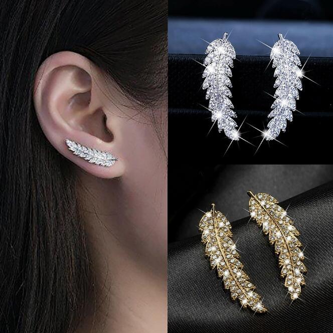 Luxury Elegant Feather Angel Wings Silver Stud Earring for Female Cubic Zirconia Crystal Party Wedding Earrings